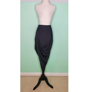 Bebe Black Form Fitting Asymmetrical Skirt EUC